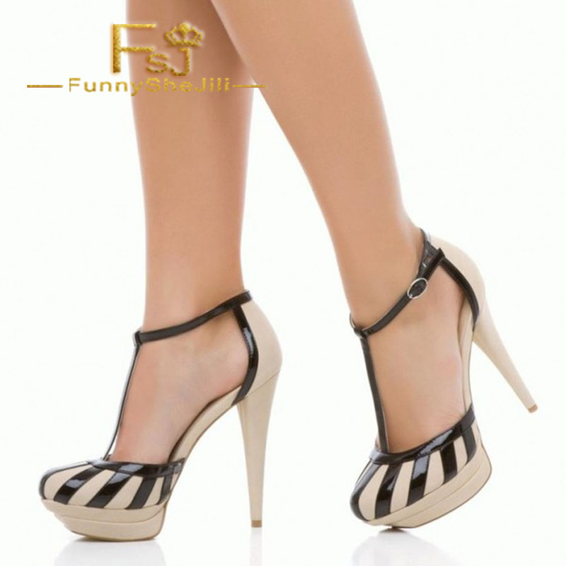 Nude And Black T Strap Heels Closed Toe Patent Leather -5504