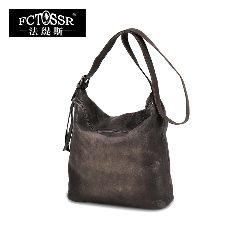 High Capacity Design Female Shoulder Bag Fashion Original Design Vintage Genuine Leather
