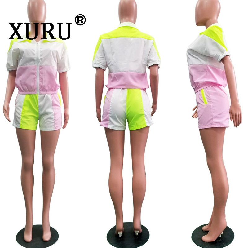 XURU new women 39 s casual jumpsuit two piece collar collar color mosaic piece shorts suit in Rompers from Women 39 s Clothing