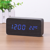 LED Digital Alarm Clock Despertador Sound Control USB AAA Temperature Display Electronic Wooden 4 Colors Desktop