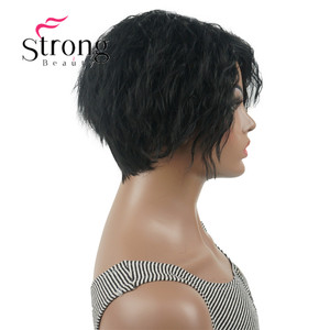 Image 4 - Strong beauty perruque Bob asymétrique courte, perruque synthétique complète, noire, ondulée, duveteuse