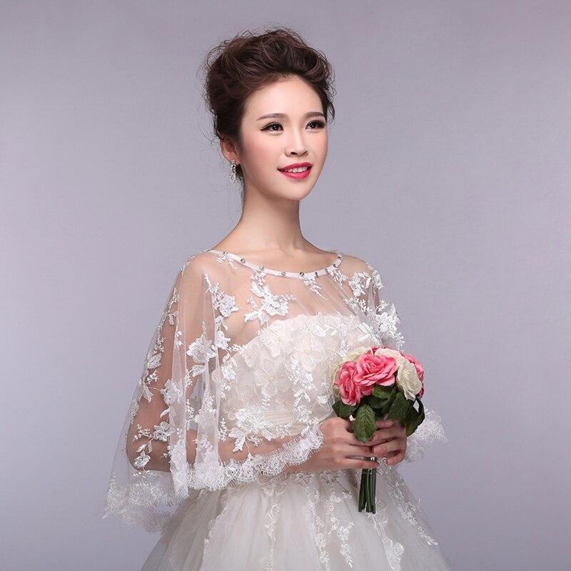 Wedding Gown Wraps: Elegant Women Lace Bridal Wraps Beige Wedding Shawl Scarf