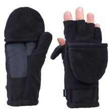 Перчатки без пальцев с откидным верхом из флиса, Мужские рукавицы с теплоизоляцией для бега, пешего туризма, езды на велосипеде, унисекс, с откидной крышкой