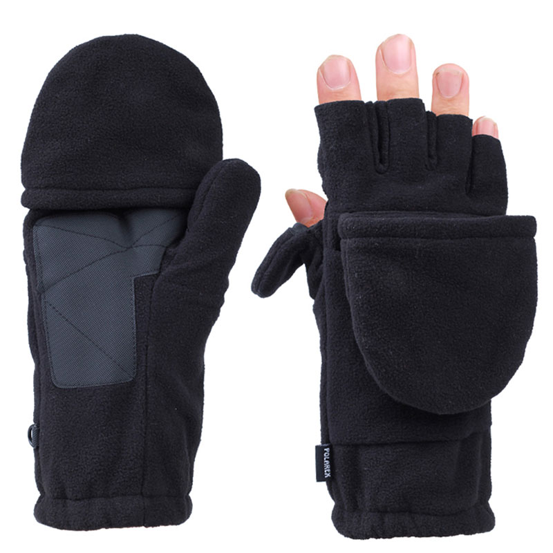 Convertible Fingerless Gloves Fleece Pop Top Mittens Men Thermal Insulation For Running Hiking Cycling Texting Unisex Flap Cover