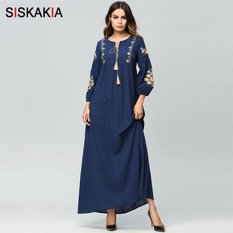 Siskakia Maxi longue robe pour femmes élégant Vintage Floral broderie à manches longues robes femme taille haute Swing drapé design