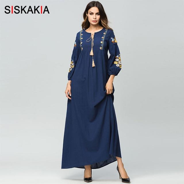 Siskakia מקסי ארוך שמלת לנשים אלגנטי בציר פרחוני רקמה ארוך שרוול שמלות נקבה גבוהה מותן נדנדה עטוף עיצוב