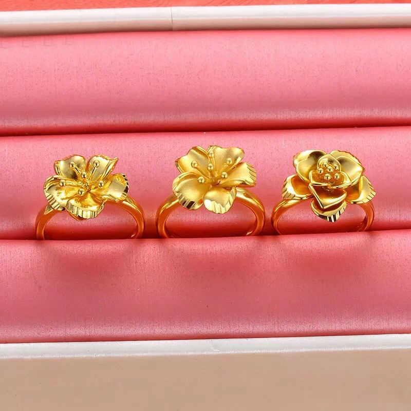 MxGxFam Hoa Nhẫn Cho Phụ Nữ 24 k màu Vàng Tinh Khiết Chất Lượng Tốt Hot trang sức Cổ Điển Thời Trang
