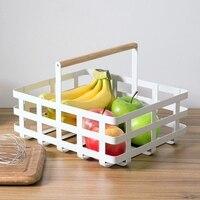 Japanese wrought iron storage basket snack fruit storage basket desktop rectangular hand held debris basket