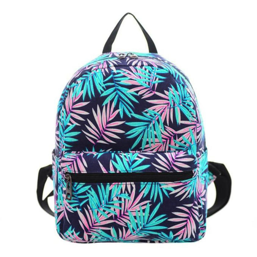 Leaves Backpack Women Canvas Backpack Shoulder Backpacks School Backpacks Student Rucksack Travel Daypacks Black Satchel #20