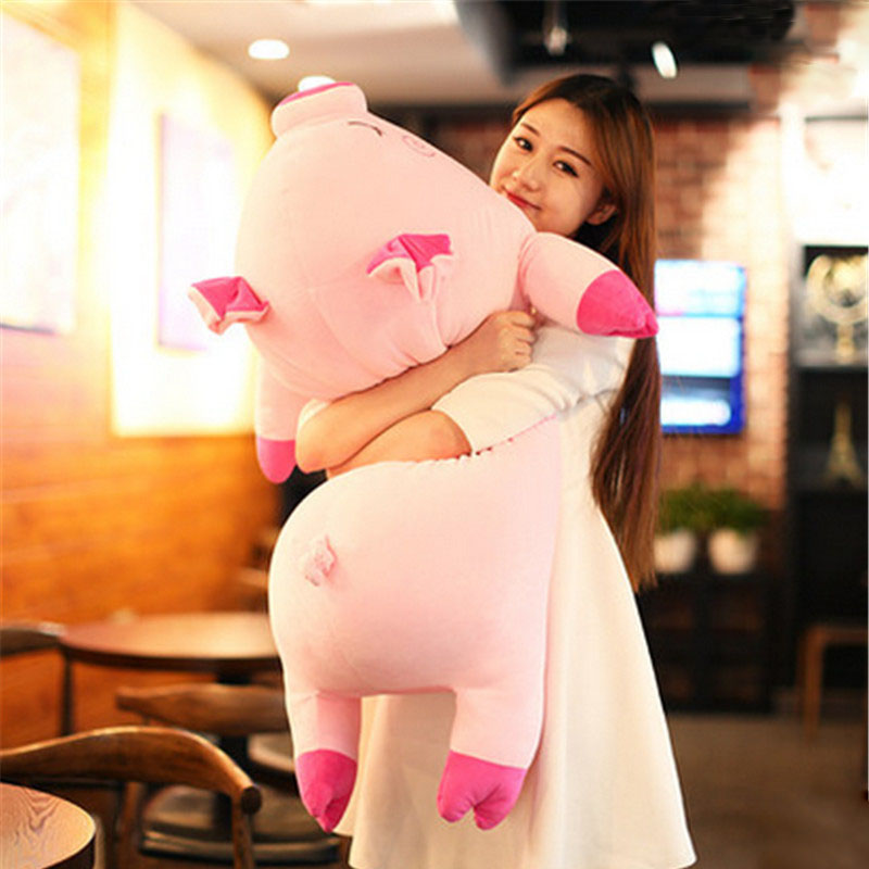 Fancytrader Large Soft Stuffed Lying Pig Plush Pillow  Big Animal Pigs Doll Toy 100cm 39inch Nice Birthday Gifts stuffed animal 120 cm cute love rabbit plush toy pink or purple floral love rabbit soft doll gift w2226