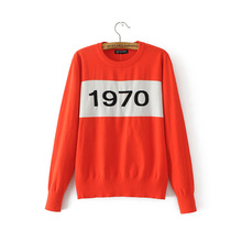 Women 1970 letter pullover Long Sleeve Sweater hot fashion star top Letter 1970 Knitting Tops