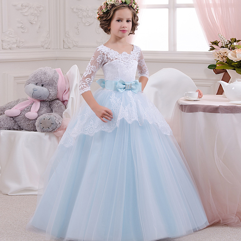 Baby Blue Sheer Neck Beading Lace   Flower     Girl     Dresses   For Wedding Bow With Sash   Girls   First Communion   Dresses   Special Occasion