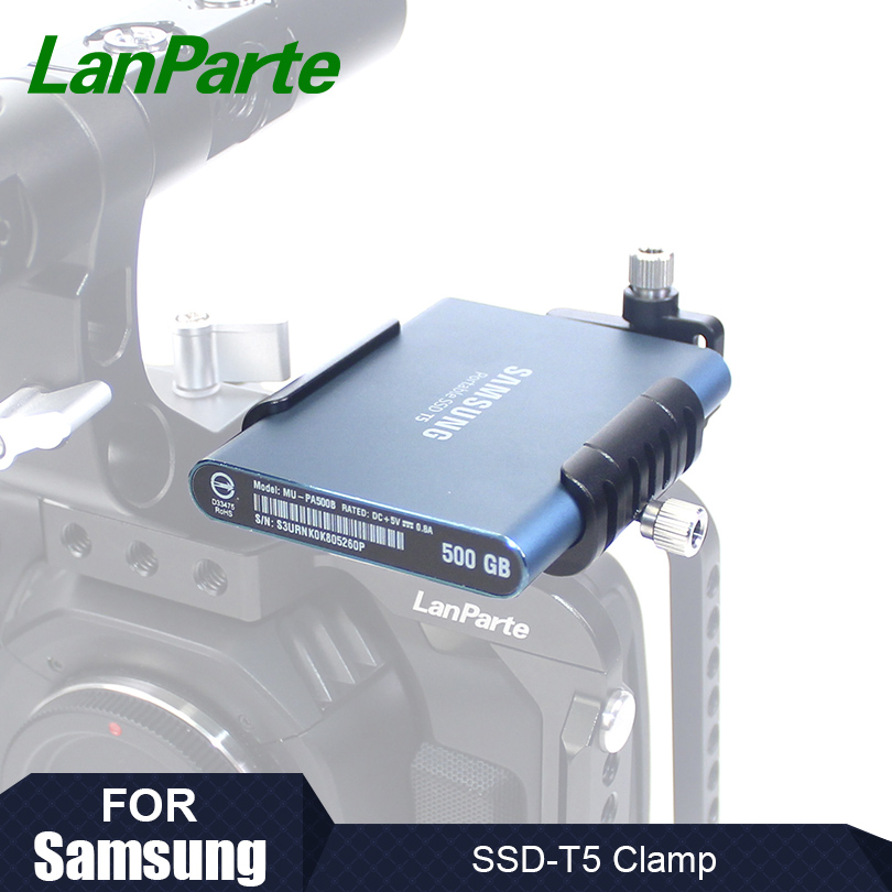 Lanparte SSD Clamp for Samsung T5 SSD for BMPCC 4K Camera with USB Type C Cable