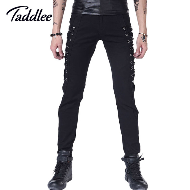 Taddlee Brand Men Long Pants Casual Skinny Low Waist men punk pants Hip Hop Male Trousers Bottoms Slim Fit Pants Joggers Black