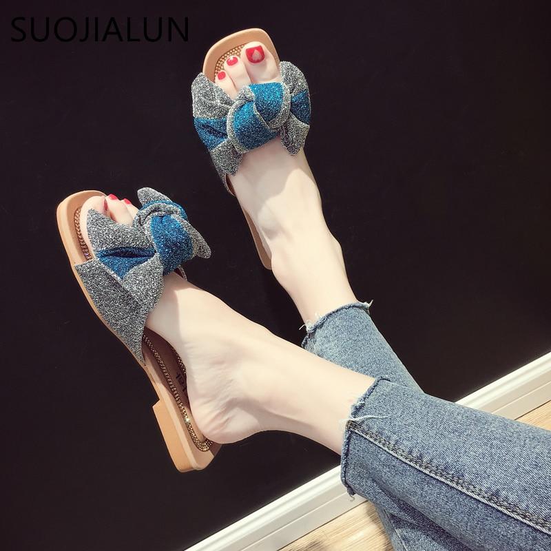 SUOJIALUN Новый 2018 женские пляжные сандалии модные бабочка узел тапочки Для женщин без каблука дома Вьетнамки удобные босоножки на каблуках