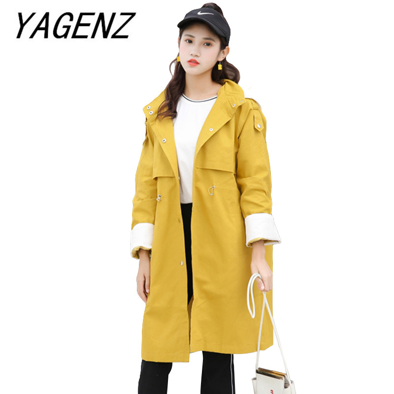 Spring Autumn Women Windbreaker Loose Casual Spliced long Overcoat single-breasted women's hooded   Trench   Coat student clothing