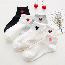 1 Pair New Kawaii Cute Socks Women Red Heart Pattern Soft Breathable Cotton Socks Ankle-High Casual Comfy Socks Fashion Style pair of stripe pattern cotton blend ankle socks