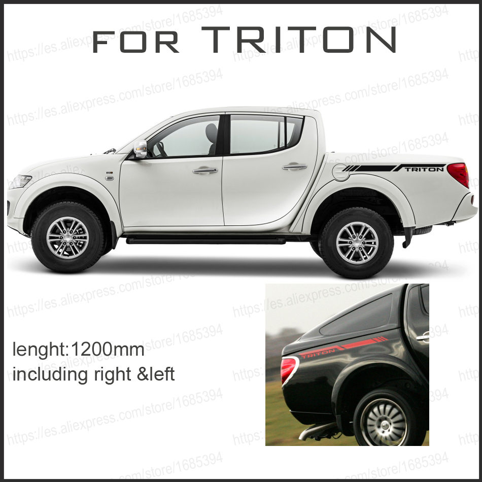 free shipping 2 PC body rear side graphic vinyl for side sticker decal mitsubishi l200 triton pickup free shipping hilux racing side stripe graphic vinyl sticker for toyota hilux first impressions