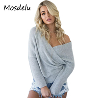 Mosdelu Women Knitted Sweaters Cotton Autumn Solid Off Shoulder Women Sweaters And Pullovers Loose Winter Warm