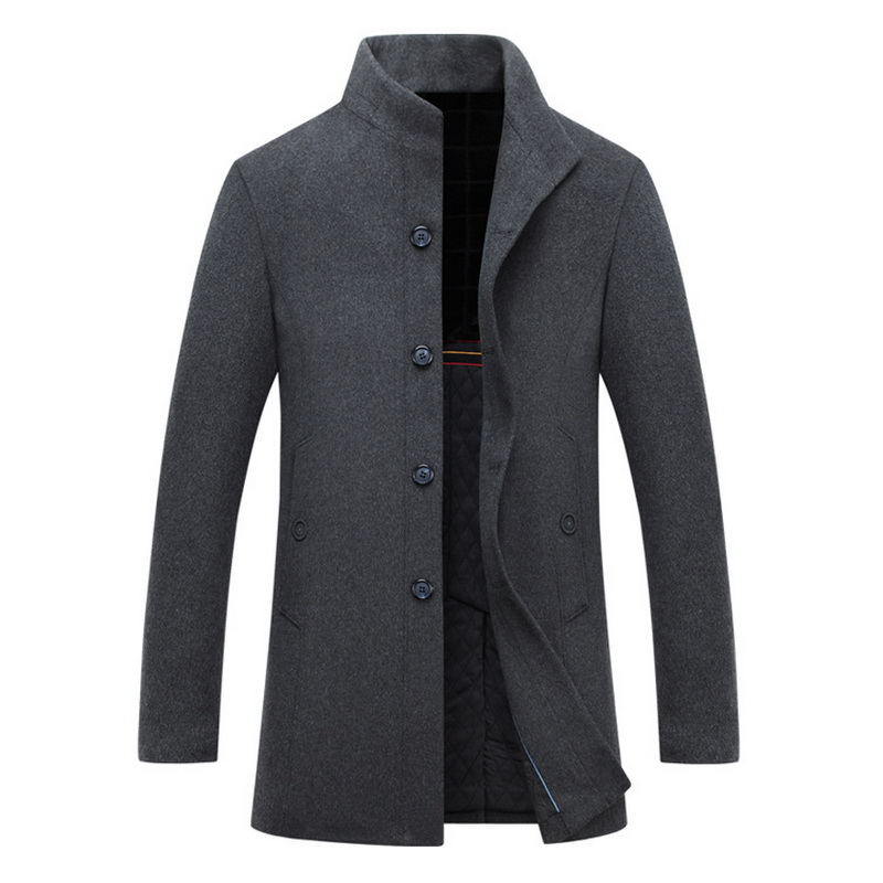 Autumn Winter Warm Trench men thicken Wool Blends High Quality Classic Long cashmere coat stand collar Mens woolen cloth coats