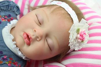 55cm Silicone Reborn Baby Doll Toy Lifelike Real Touch Baby-Reborn Sleeping Newborn Girl Doll Kid Play House Toy Girl Brinquedos