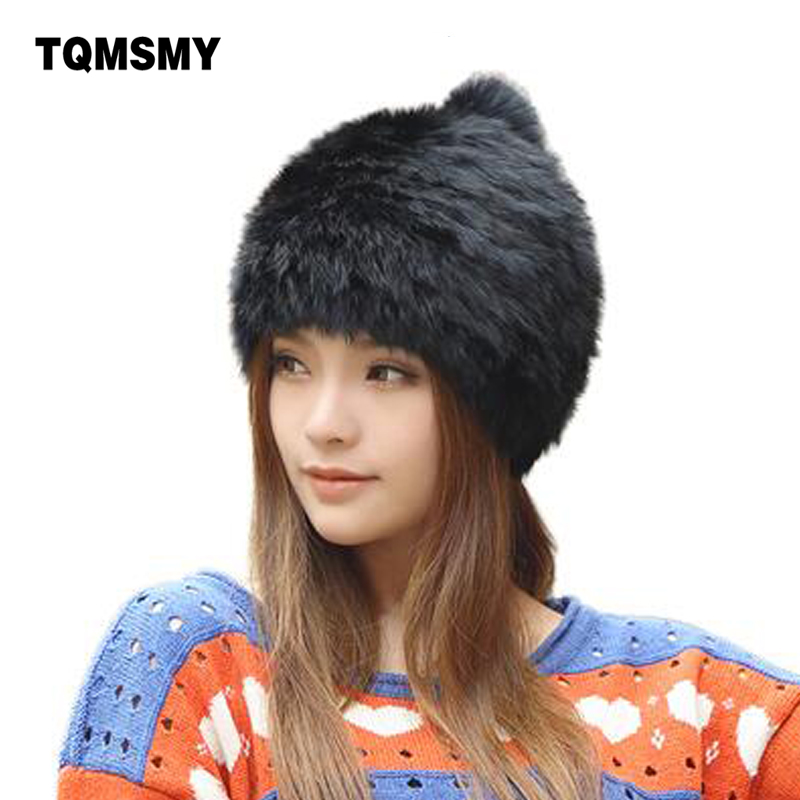 High quality Fashionable winter hats for women Rabbit Fur beanie Knitting wool Real Fur Casual cute