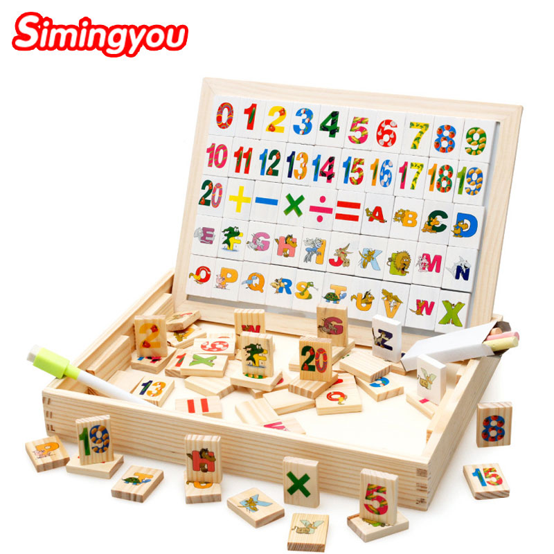 цена на Simingyou Wooden Puzzle Magnetic Alphabet Arithmetic Domino Double Sided Toys For Children A50 Drop Shipping