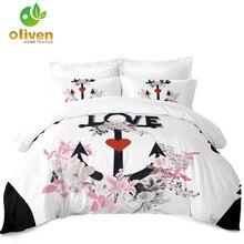 Romantic Wedding Bedding Set Couples Anchor Floral Duvet Cover Love Heart King Queen Pillowcase Valentines Day D30