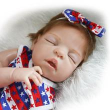 Hot sale 22″/57cm Beautiful Silicone reborn baby doll lifelike Sleep doll toy kids child birthday gift free shipping