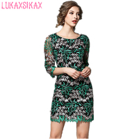 2017 New Women Spring Summer Dress High Quality Mesh Flowers Embroidery Runway Dress Elegant 3 4
