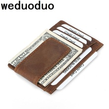 Weduoduo New Genuine Leather Card Wallet for Men and Women Cowhide Business Holder Credit Purse Top Quality !