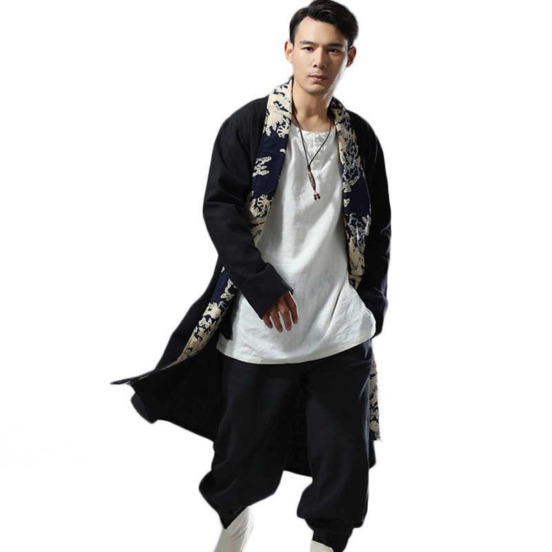 LZJN 2019 осеннее длинное пальто мужские накидки китайский дракон лоскутное льняное кимоно кардиган свободная ветровка Мужское пальто Тренч