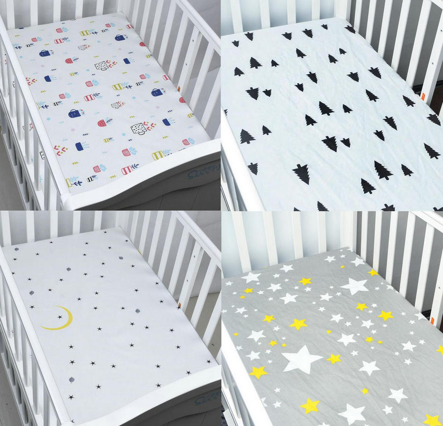 цены на EGMAO NEW Baby Bed Fitted Sheet 130X70X22CM Crib Sheet 100% Cotton Bed Sheet в интернет-магазинах