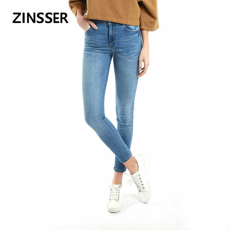 Autumn Winter Women Denim Skinny Pants Stretch Medium Waist Washed Blue Black Slim Elastic Lady Jeans ZS002BPTAA9