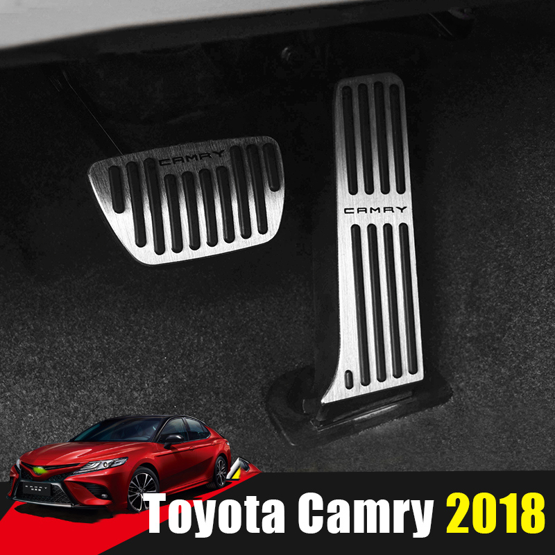 Aluminum Car Accelerator Gas Pedal Brake Pedal Footrest Pedal Non Slip Pads Cover Case AT For Toyota Camry 2018 2019 Accessories