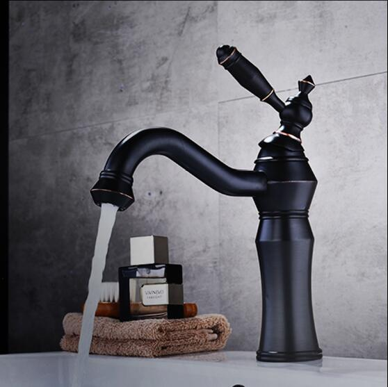 New Arrivals brass Basin Faucet hot and cold Water Faucet single lever black oil Brushed bathroom sink faucet basin tap new arrivals single lever basin faucet hot and cold water tap gold kitchen sink faucet water tap 4 colors kitchen faucet