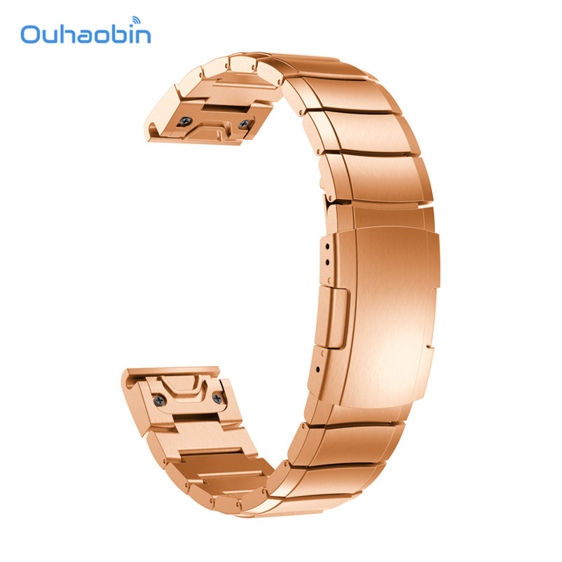 Ouhaobin Genuine Stainless Steel Bracelet Quick Replacement Fit Band Strap Wristband For Garmin Fenix 5 GPS