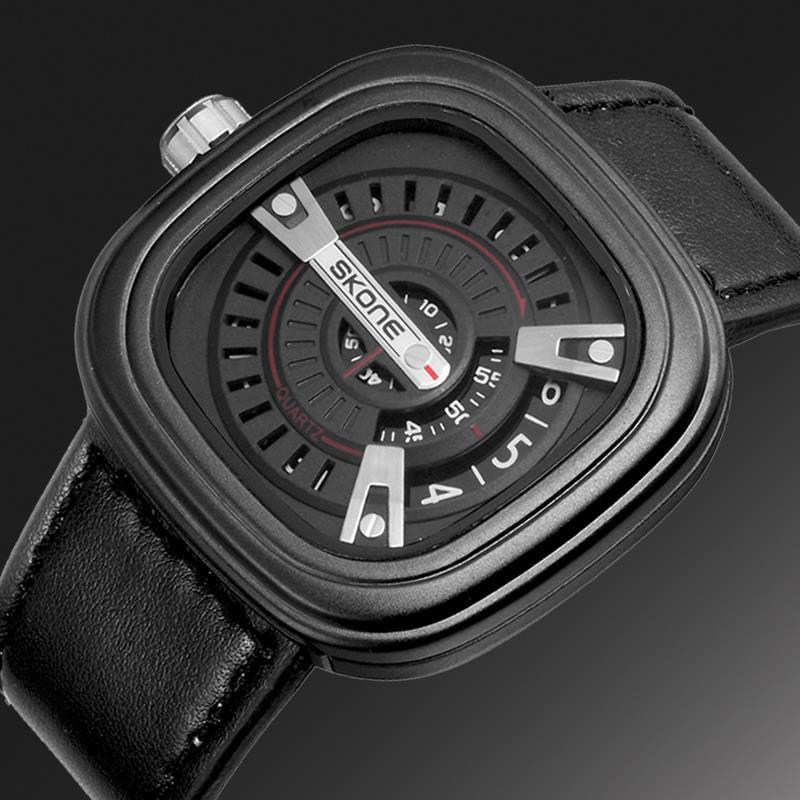 Prix pour 2016 Nouveau Hommes Montres SKONE Marque conception Spéciale Militaire En Cuir Sport Quartz Montre Hommes Grand cadran Horloge Relogio Masculino