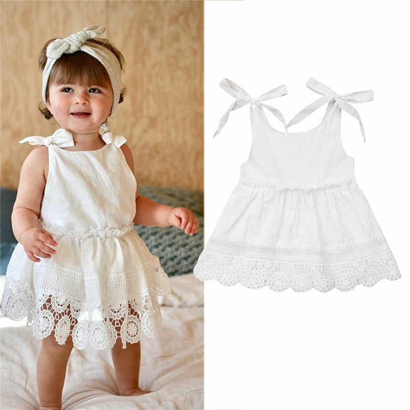 Toddler Baby Girls Sleeveless Lace Floral Dress Backless Princess Party Mini Dress Summer Outfits