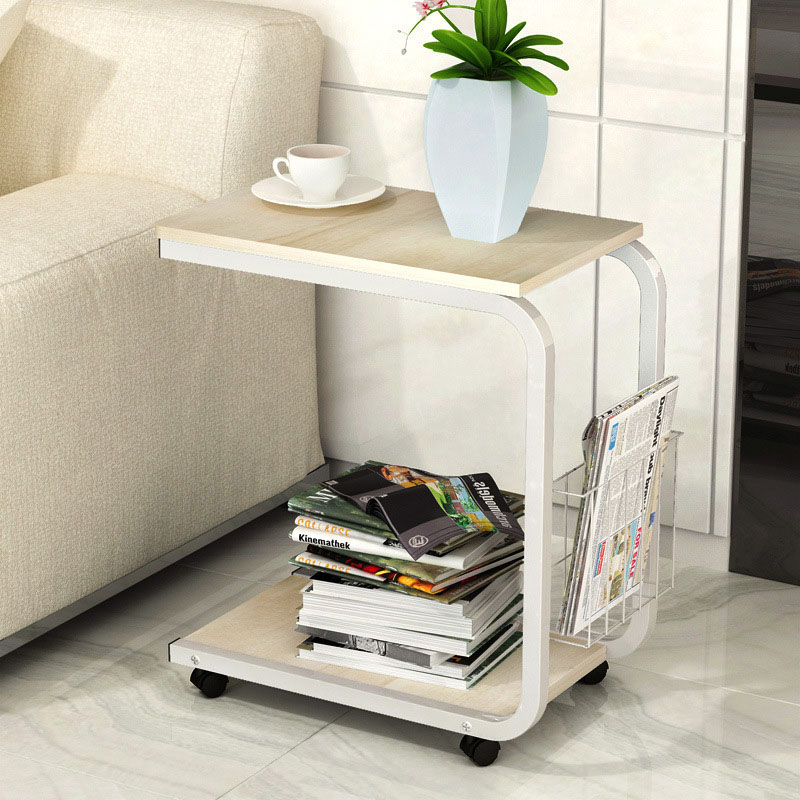 Tea Table Side End For Office Coffee Magazine Shelf Small Movable Living Room Bedroom Furniture