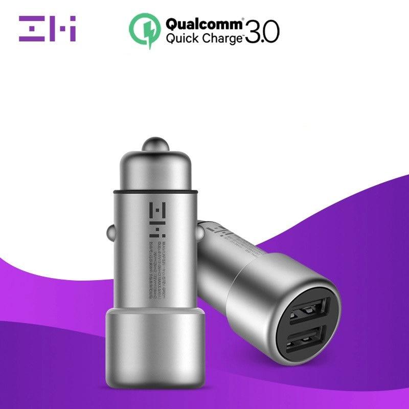 Original Xiaomi ZMI Car Charger 2-Ports USB QC 3.0 Quick Charge Cigarette lighter head Fast Charging equipment