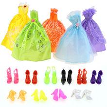 10 Paar Schuhe & 5 Hochzeit Kleid Partei Kleid Prinzessin Outfit Kleidung Prinzessin Puppe Mädchen Geschenk Zufallsprinzip