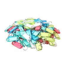 High Quality 60PCS Colorful Frosted Plastic Luggage ID Bag Label Key Tags Keychain
