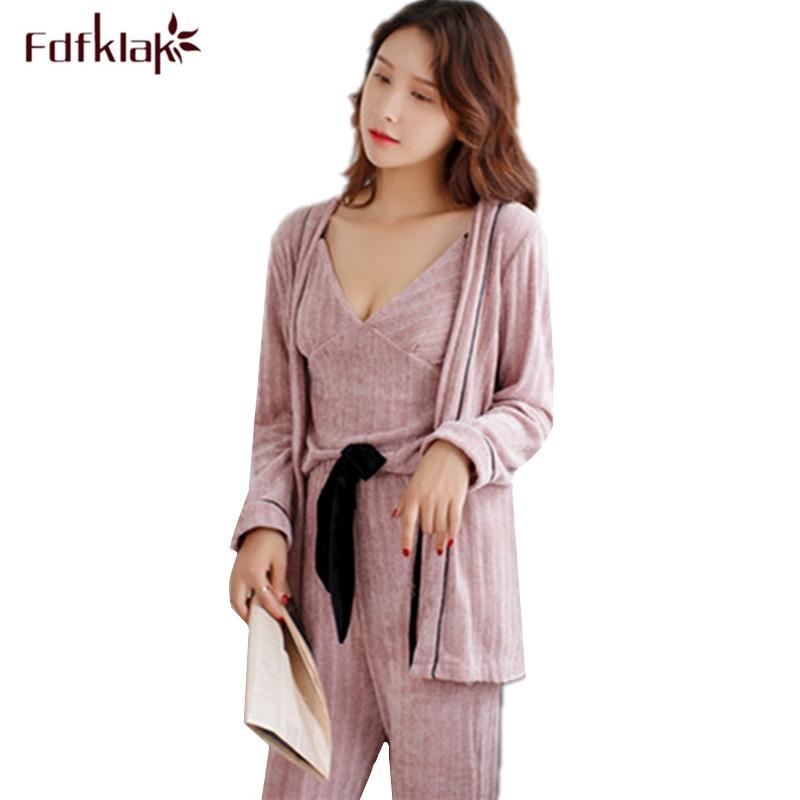 Fdfklak High quality   pajamas   for women long sleeve winter pyjamas women 3 pcs sexy ladies sleepwear   pajama     set   pijama feminino