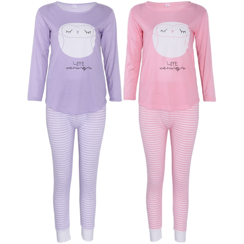 KLV Women Long Sleeve Cartoon Owl Print Tops And Stripe Pants Pajamas Set Sleepwear