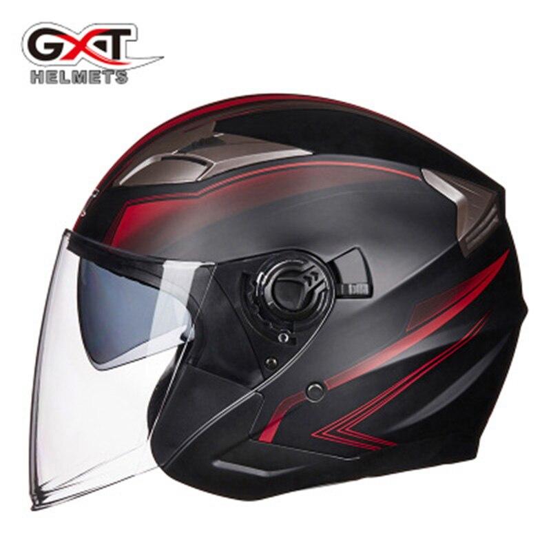 Été Nouveau GXT Double Lentille casques de Moto La Moitié Du Visage ABS Casque de Moto Électrique Casque de sécurité Pour Femmes/Hommes Moto Casque