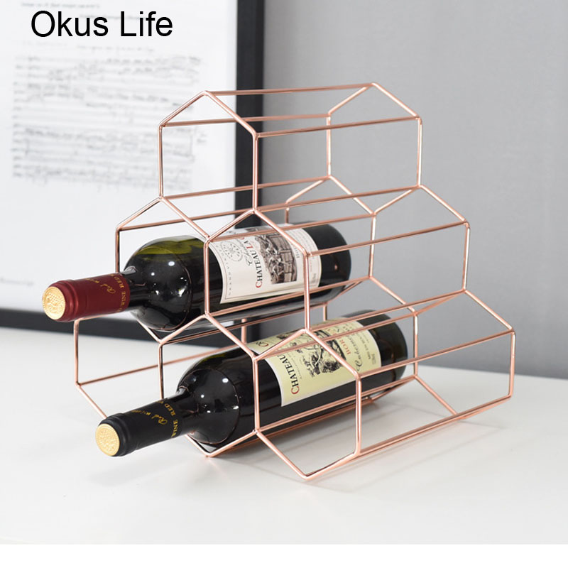 Honeycomb Style Metal Table Storage Basket Chic Nordic Scandinavian Desk Storage Basket Rose Gold Red Wine Organizer Home Decor
