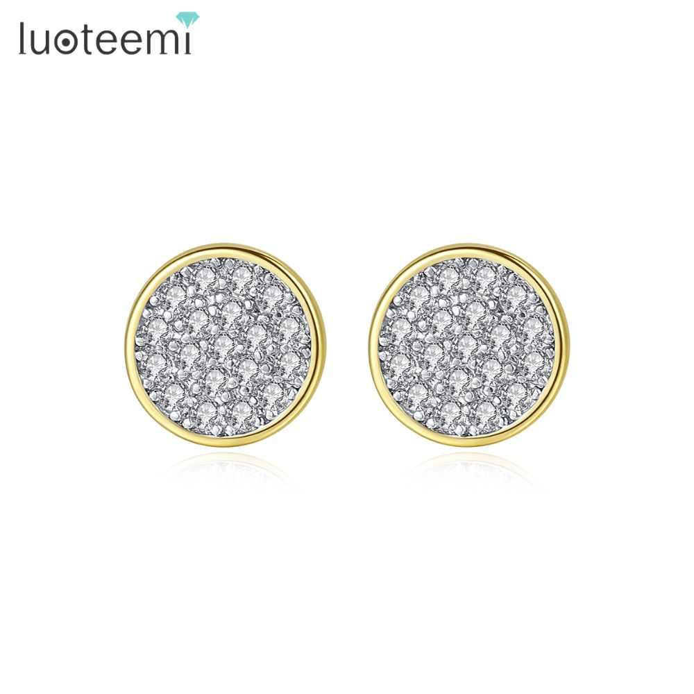 LUOTEEMI Brand New Simple Round Small Stud Earrings for Women Girls Wedding Daily Life with Quality Cubic Zircon Fashion Jewelry