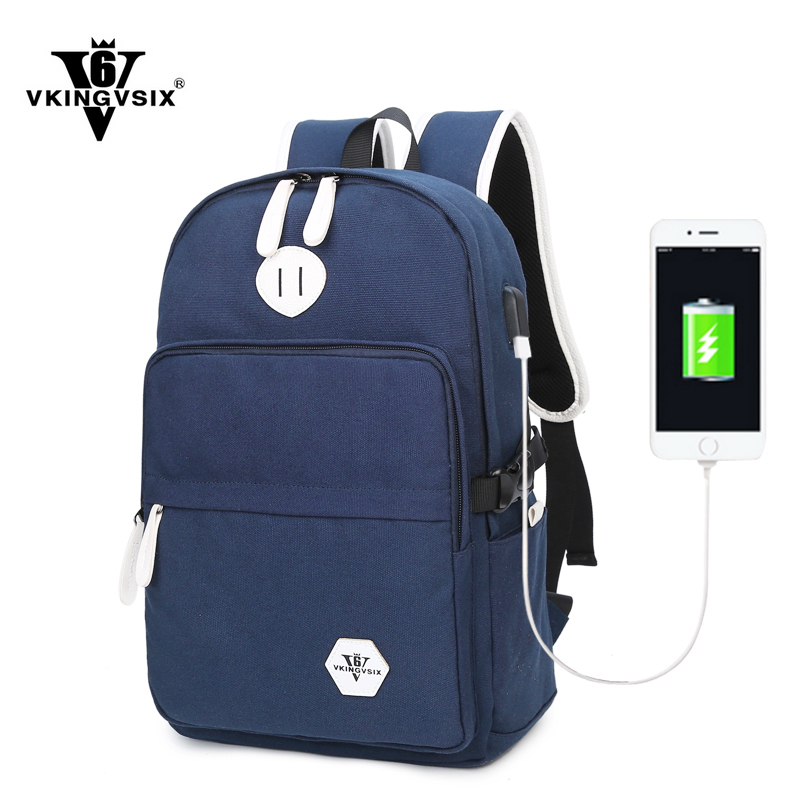 2017 New VKINGVSIX V6 Brand Canvas font b backpack b font 2 color External USB Charge