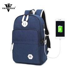2017 Nueva VKINGVSIX V6 Marca mochila de Lona 2 colores USB Externo bolsa de la escuela de carga para los hombres las mujeres 14 pulgadas mochila portátil mochila